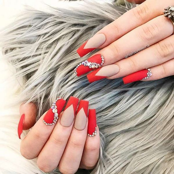 Top Valentines Nails Acrylic Coffin Red Secrets Pecansthomedecor Com Red Nail Designs Red Nails Prom Nails Red