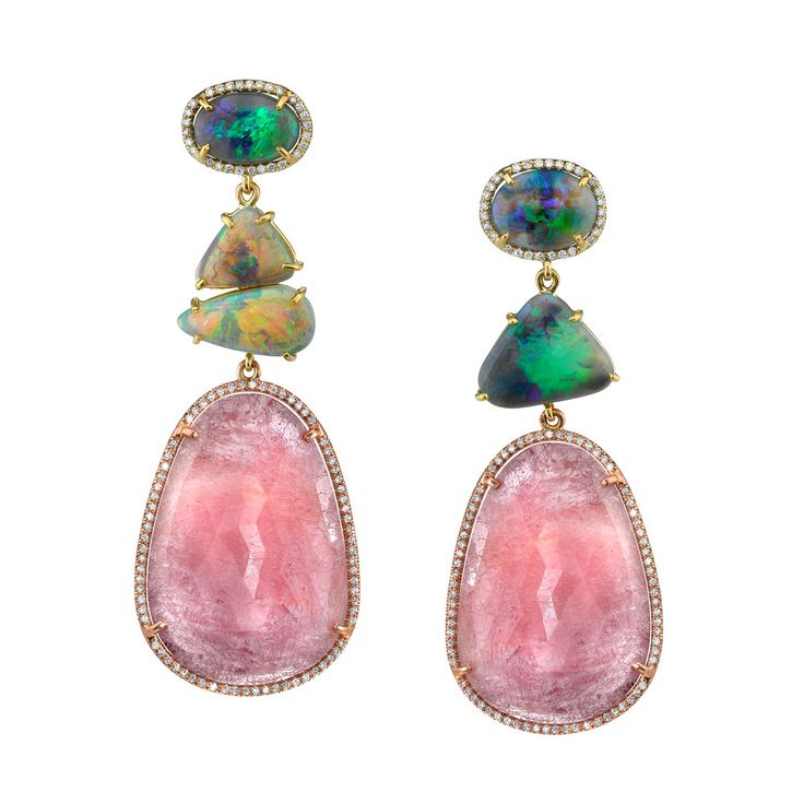 Irene Neuwirth one of a kind earrings with Lightning Ridge Opals, Pink Sapphire Slices and Diamond Pave