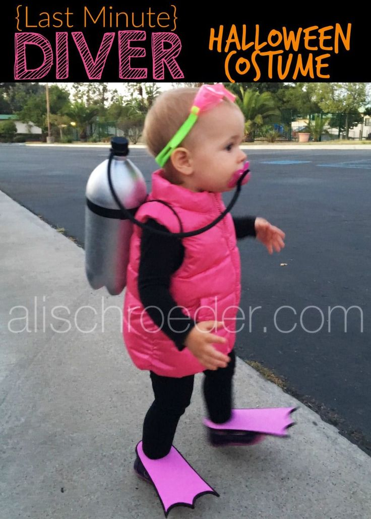 Need a simple, last minute Halloween Costume for your toddler? Before I was even pregnant, I saw a photo of little trick-or-treat divers on Pinterest. The kids in the photo were much older than my… #halloweencostumekids