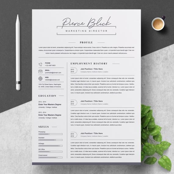 Resume Template Word Instant Download Simple 3 Page Resume Template Word Mac Psd Eps Cv Template Word Design For Fast Download In 2020 Clean Resume Cv Template Creative Resume Templates