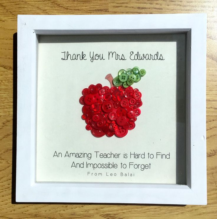 Personalised Thank You Teacher Gift Button Collage | Personalised Thank You Teacher Box Frame Button Collage | Thank You End of Year Present by EverCraftingLove on Etsy