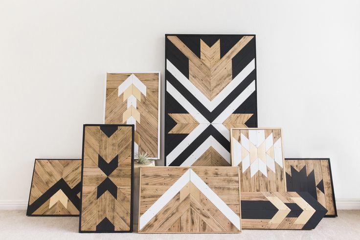 modern, reclaimed wood, wall art, black and white, wood, gold, geometric, modern, handmade, etsy, houston, interior design, unique wall art