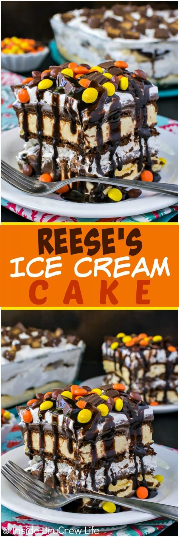 Reese's Ice Cream Cake - lots of candy and fudge transform ice cream sandwiches into a gourmet ice cream cake!  Awesome and easy summer recipe for any party!