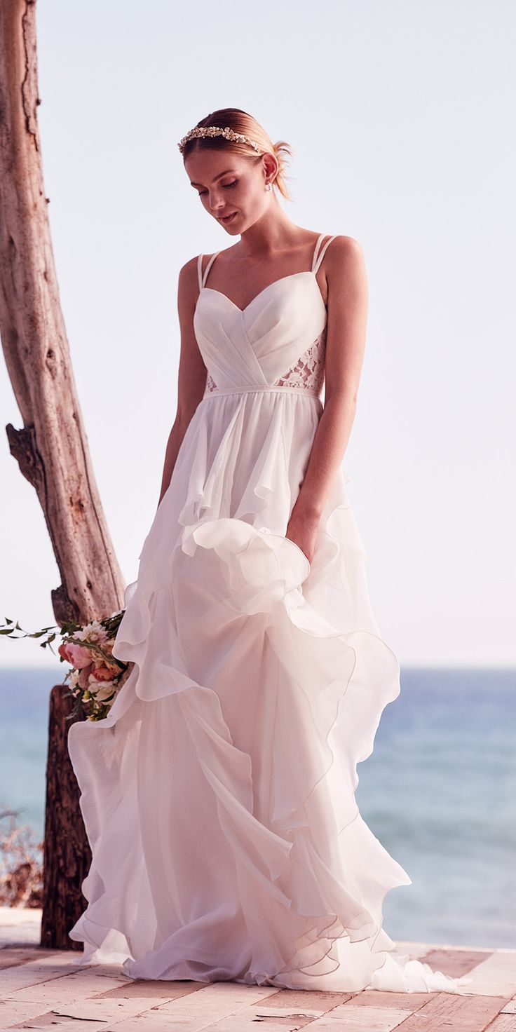 Romantic Ruffled Chiffon Wedding Dress with Lace Back | David's Bridal Spring 2017 @davidsbridal #davidsbridal #ad #wedding #bridal #weddingdress