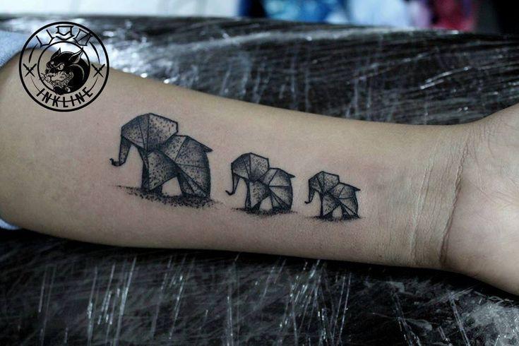 Origami elephants Tattoo   El Ugo #blackwork #tattoo #tattoos #ink #elephant…
