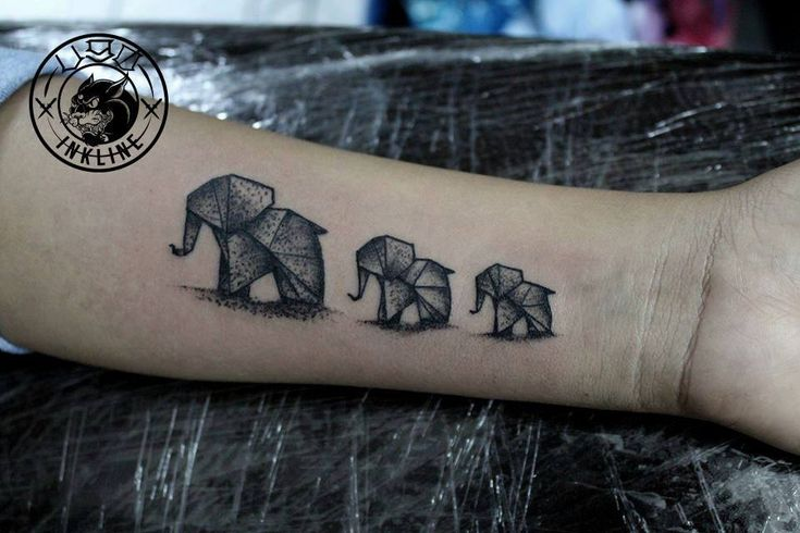 Origami elephants Tattoo | El Ugo  #blackwork #tattoo #tattoos #ink #elephant  #origami