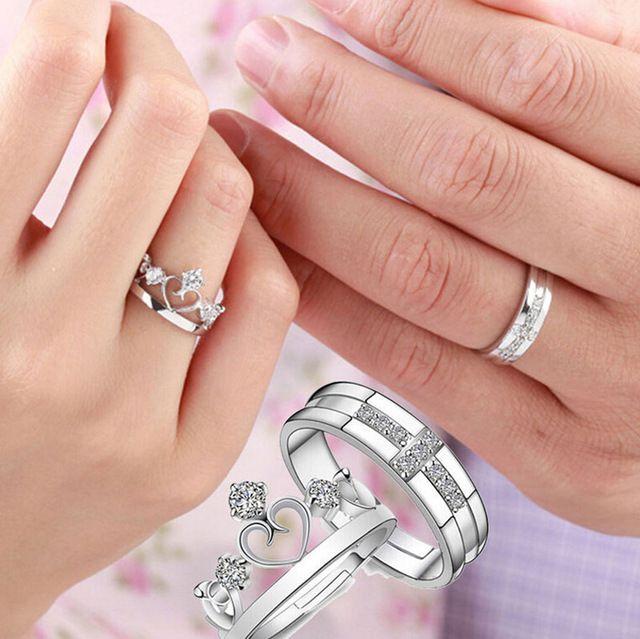 1 pz principe principessa regina paio argento anelli wedding band lui e il suo anello di promessa
