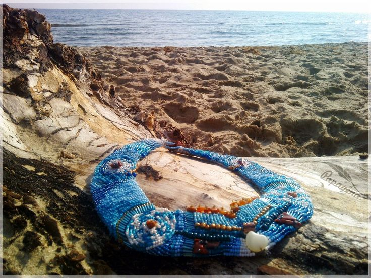 "Papagena - handmade zone, beaded necklace ""Indian Sea"""