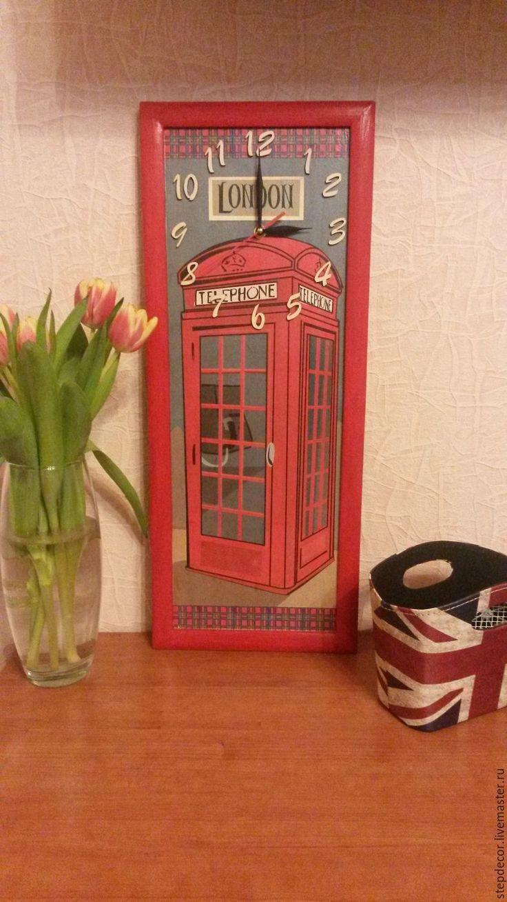 """Купить Часы настенные """"Лондон"""" - ярко-красный, часы, часы настенные, часы интерьерные"""