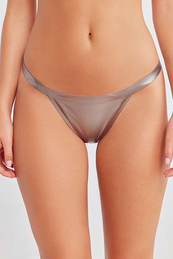 Slide View  3  Out From Under Metallic Silver G-String Thong ea59b12cbaea