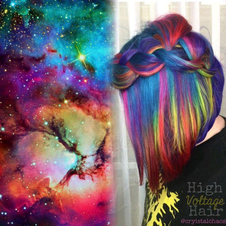 Rainbow Hair<3 Instagram-@CryistalChaos #haircolor #mermaidhair…