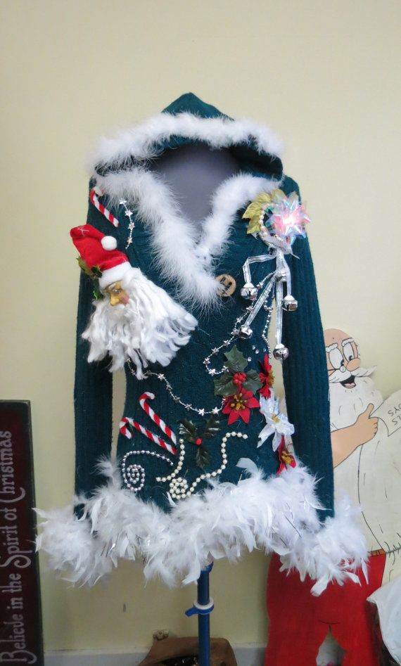 Christmas Pixie 3-d Tacky Ugly Christmas Sweater Light Up Color Changing Bow & Snowflake  Feather Foo Foo Garland Size Medium Hooded