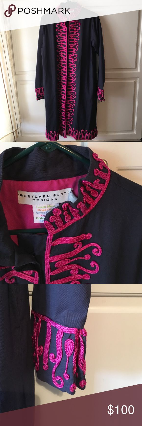 Flash Sale! Gretchen Scott Dark Navy Coat New with tags. Beautiful dark navy coat with pink cording. Mandarin collar for a unique twist. 100% cotton outer with soft polyester lining. Intricate Patterned Cording Along Edges. Hidden Quilted Contrast Embroidered Buttons. Double Faced Embroidered Turn Back Cuffs. Side Seam Pockets Gretchen Scott Jackets & Coats