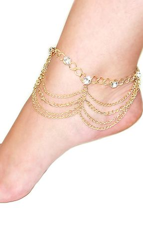 'TARA' LAYERED GOLD CRYSTAL CHAIN ANKLET