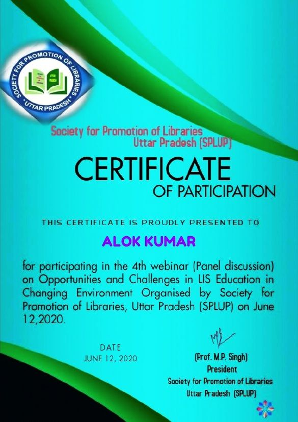 Alok Kumar Assistant Librarian Department Of Central Library Of Kanpur Institute Of Technology Rooma Kanpur I Have Co Assistant Librarian Webinar Education