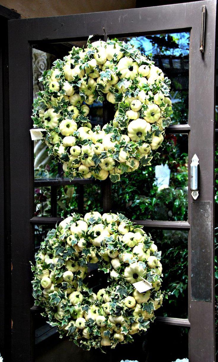 white mini pumpkin wreaths