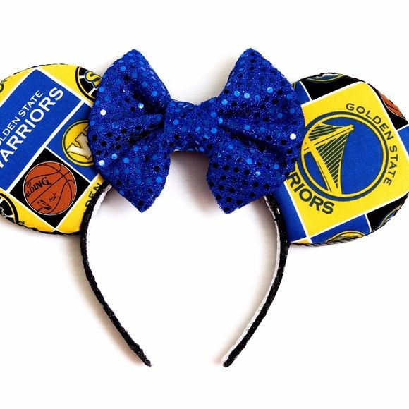 Golden State Warriors Minnie Ears Golden State Warriors Disney Minnie Ears! All handmade! Patterns will vary from the picture but we do our best as always to make it nice. Leave a comment below and I can give you a discount on these ears! Accessories Hair Accessories