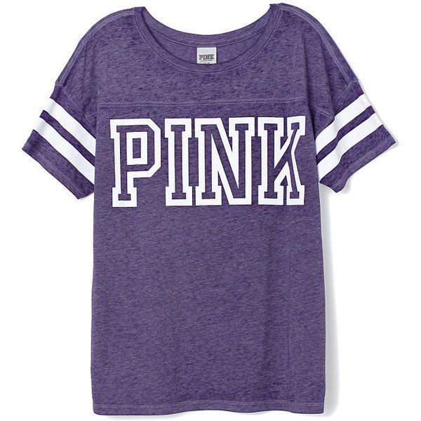 Athletic Tee - Victoria's Secret ($27) ❤ liked on Polyvore featuring tops, t-shirts, pink, victoria secret tops, purple t shirt, purple tee, purple top and victoria secret t shirts