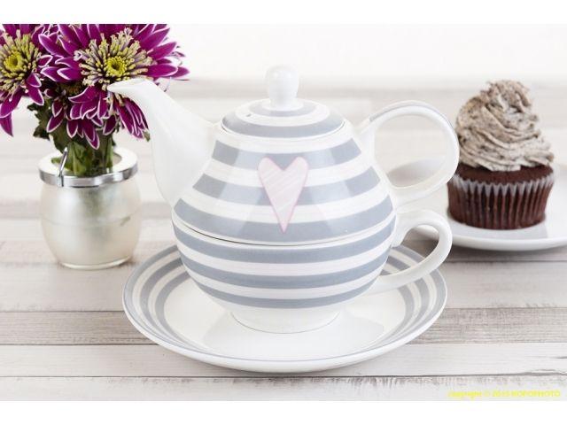 Zestaw do herbaty Tea For One Annabelle paski z serduszkiem