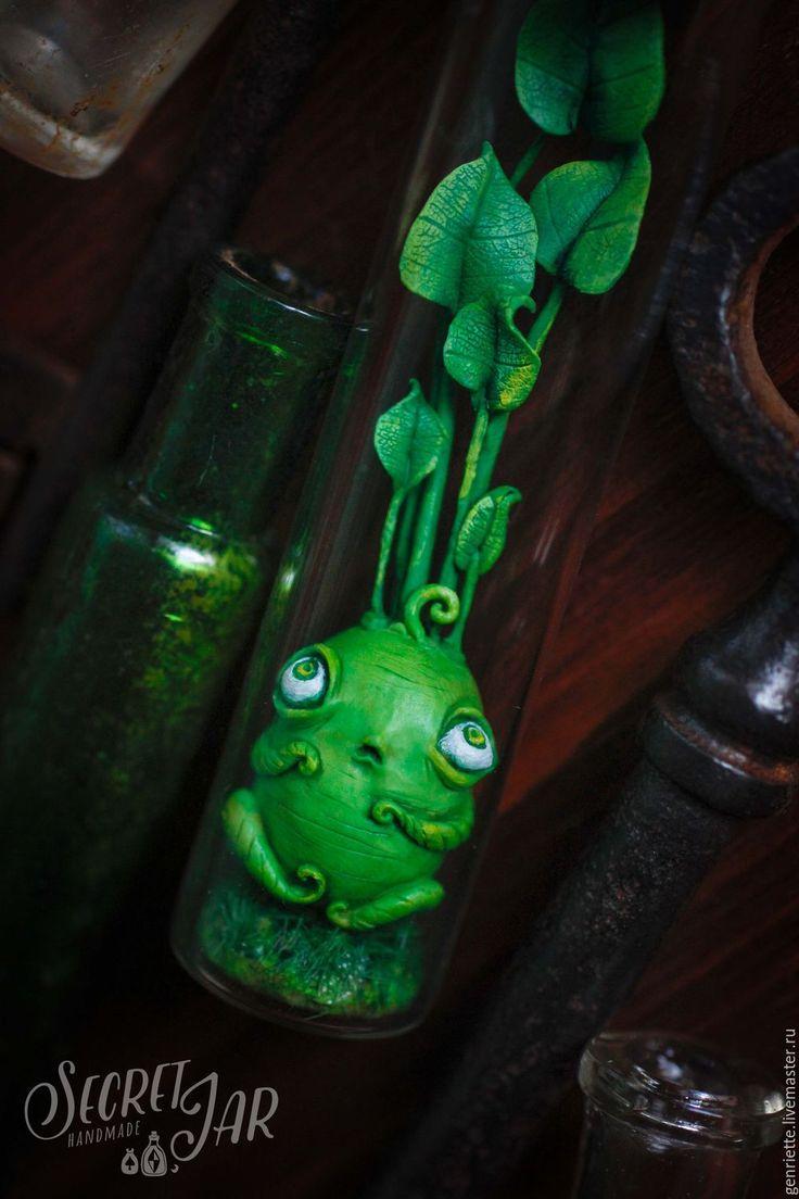 """Купить Зеленый малютка """"Глоу"""" - ярко-зелёный, коричневый, сказочный персонаж, игрушка ручной работы"""