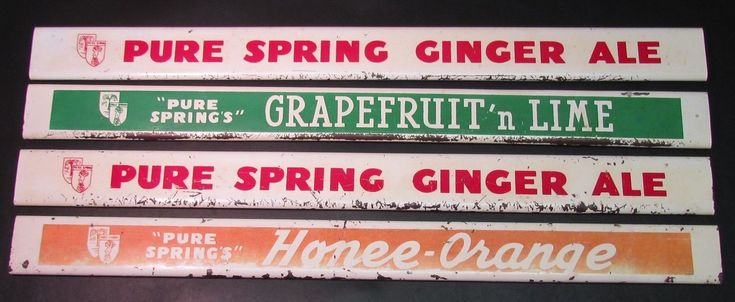 RARE 1925+ Ottawa Pure Springs General Store Soda Bottle Rack Placard Sign Set.