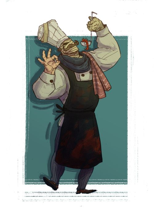theonymic:  Bandaged Poissonier/Chef-Paramount from Sunless Sea (MY GAME THAT'S MY GAME). he's my favourite because let's be real an undead lethal chef who increases your stats by waxing philosophical about the nature of edibility is….whats not to like…