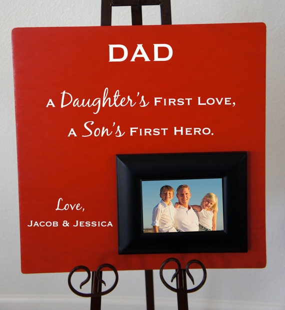Dad A Daughter's First Love, A Son's First Hero. Personalized. Great father's day or birthday gift from the kids... by Frameyourstory