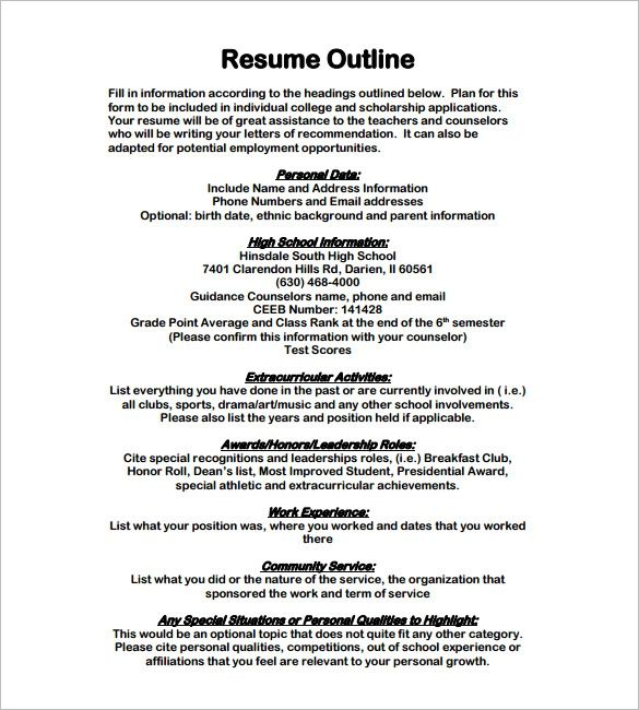 resume outline examples template pinterest sample resume