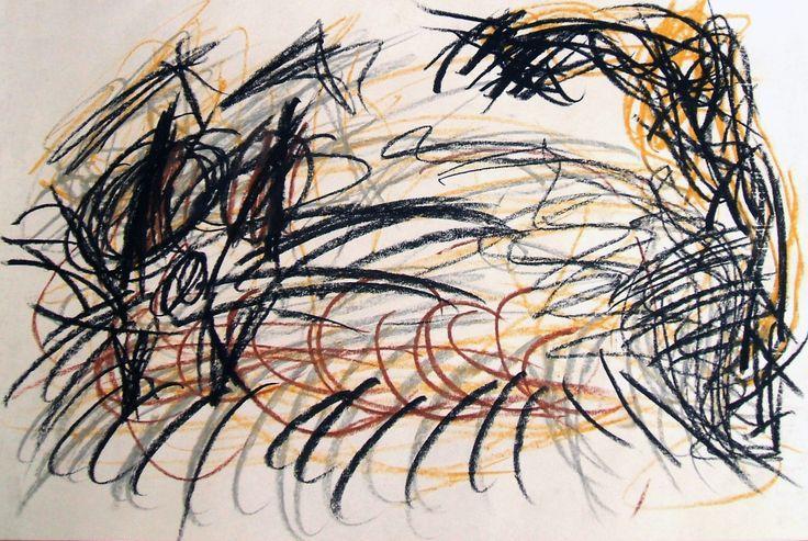 """""""Gatto"""" 2008 Pastelli ad olio su carta 33x448 Collezione privata ©Pietro Gargano"""