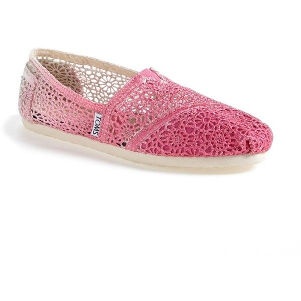 TOMS Crochet Classic Slip-On Shoe ($32) ❤ liked on Polyvore featuring shoes, fuchsia, pull on shoes, round cap, suede slip on shoes, slip on shoes and fuchsia shoes
