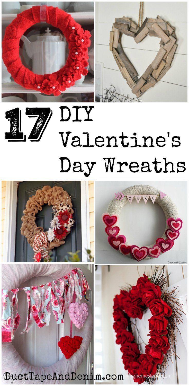 972093b821dcc9b3d10d160497d232bb - 17 DIY Valentine's Day Wreaths on www.DuctTapeAndDe... #valentinewreath #valenti...