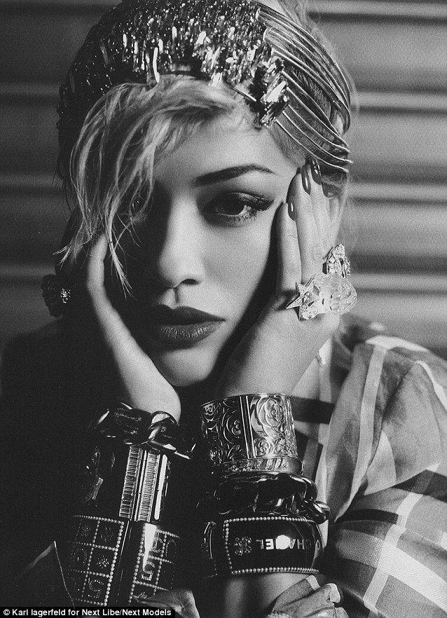 Glam: Rita Ora looks amazing as she is photographed by fashion designer Karl Lagarfeld for Next Libe magazine