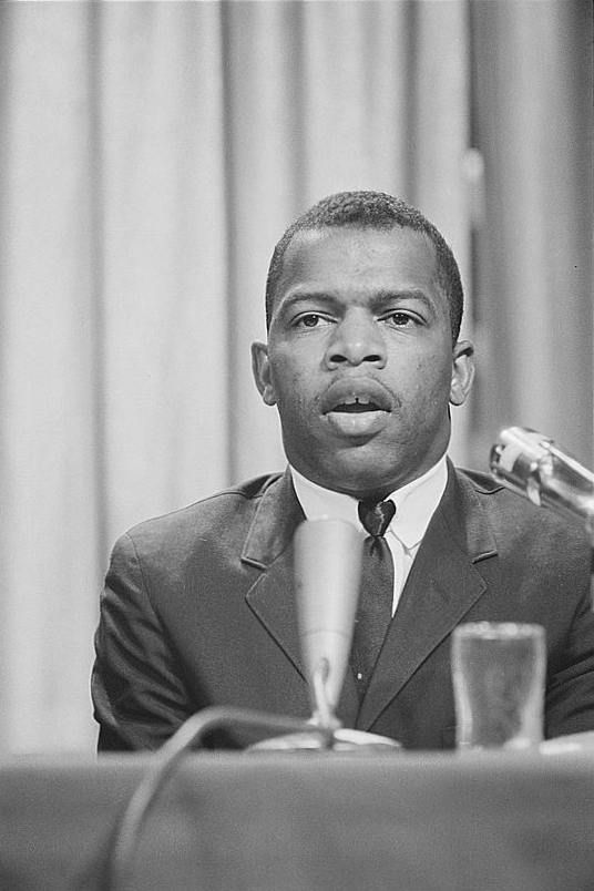 "John Lewis, a leader of the Student Nonviolent Coordinating Committee who had planned to call the civil rights bill ""too little, too late"" at the 1963 March on Washington, shown on April 16, 1964. Photo by Marion S. Trikosko, U.S. News and World Report."