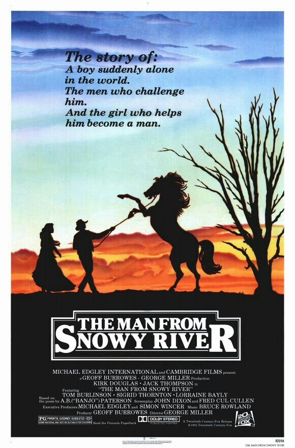 The Man from Snowy River.....based on a poem by Banjo Patterson, who is made a character in the movie to almost say this is where he got his idea. Long before green screen, screen see how well they have a screen legend play an amputee. Then there is the horse ride down the side of the mountain. Not a perfect movie but a great western.....in the far west?