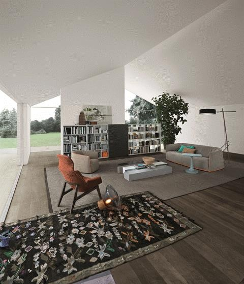 POLIFORM: Wall System bookcase, Santa Monica sofa and armchair, Woodstock coffee table, Vulcano coffee table and Ventura Lounge armchair