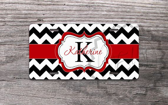 "Personalized Monogrammed License Plates - Cute Mint monogram on Lavender chevron - Designed by ""- NestGiftCo -"" adds a great style to your vehicle.  Our car tags are made of aluminum and are made through a process called sublimation. Gelled dyes are spritzed onto a specially coated paper. An al..."