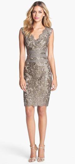 Embellished Metallic Lace Sheath Dress. rehearsal dinner dress
