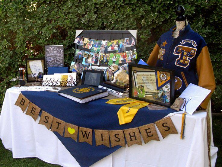 "Wishing Table ... photos, awards, high school memorabilia, digital frame, sports scrap book, and ""My Wish"" cards."