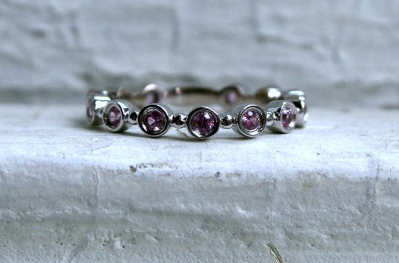 Lovely Vintage 14K White Gold Purple Sapphire Eternity Wedding Band. on Etsy, $395.00