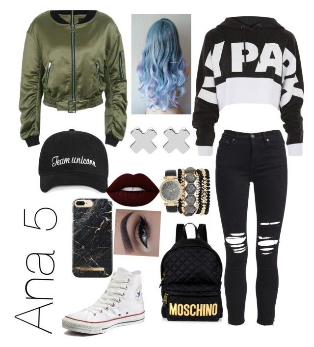 """""""Untitled #9"""" by ivanmadalina22 on Polyvore featuring Topshop, AMIRI, Converse, Moschino, Jessica Carlyle, Witchery and Lime Crime"""