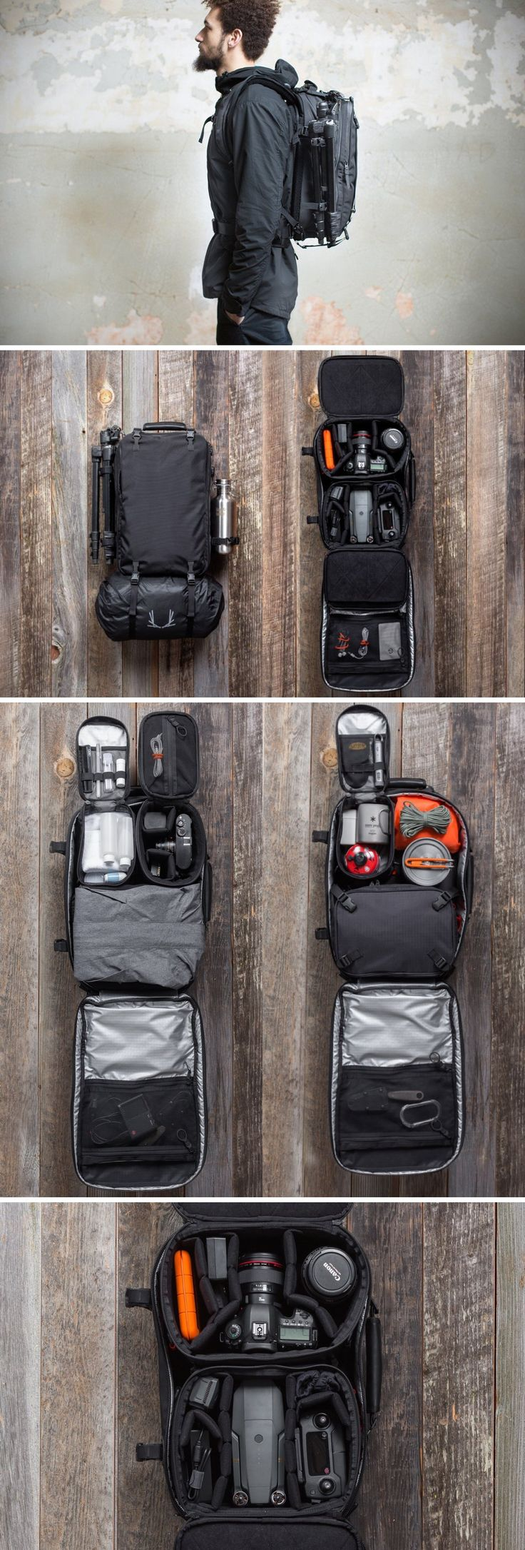 The modular V4 backpack by Black Ember allows you to carry any and everything related to travel, adventure, and photography in a format that is of use to you! The secret to the V4's inherent awesomeness is intelligent compartmentalization. The bag comes with compartments that lock right to the bag's secure inner wall using magnetic locks. Individual compartment cubes (made for separate uses and needs) can easily be customized within the bag, allowing you to carry more or less equipment.