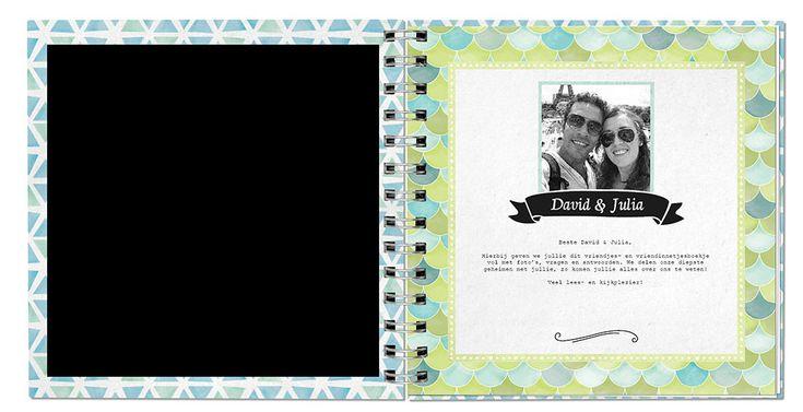 Persoonlijk trouwkado voor bruidspaar, geef met vrienden en familie een trouwboekje vol met leuke vragen en foto's.