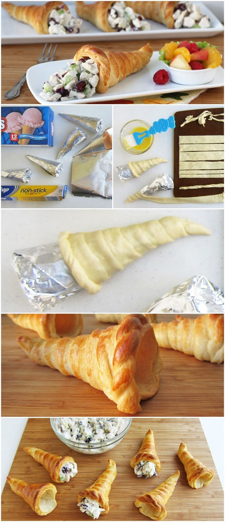 Share your abundance of left over Thanksgiving turkey by stuffing some beautiful cornucopia made from Pillsbury Crescent Rolls!