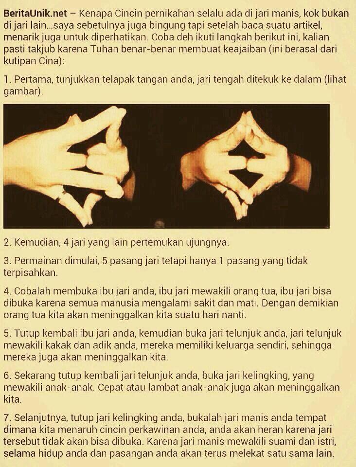 Kenapa menikah cincin harus dikenakan di jari manis? #fakta or #mitos