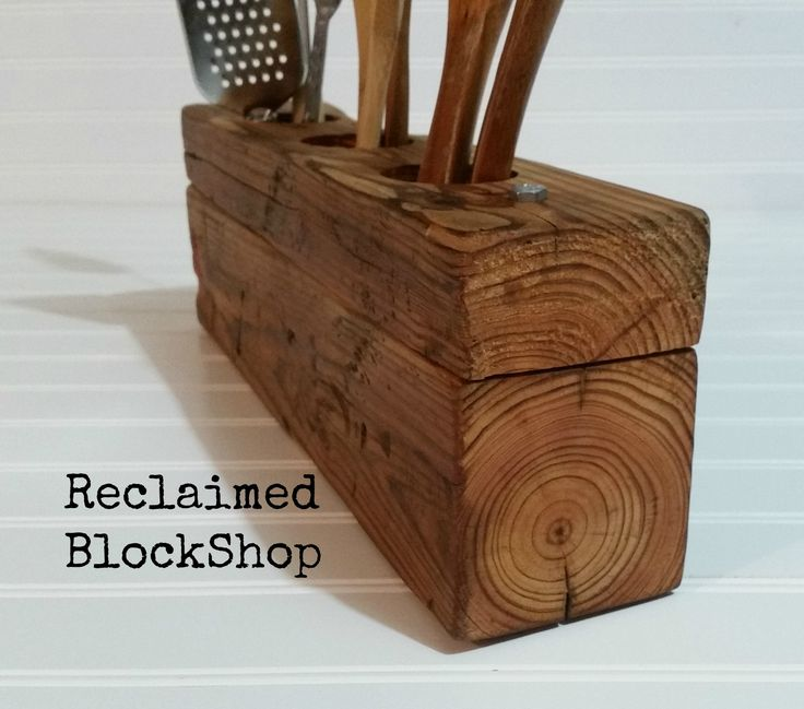 Rustic Kitchen Utensil Holder, Wood Utensil Organizer, Farmhouse Silverware  Caddy, Salvaged Wood Tool Caddy, Barnwood Desk Caddy