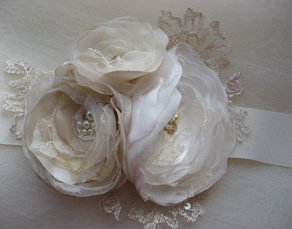 Reserved for kelly vintage bridal sash ivory beige for Vintage wedding dress belts