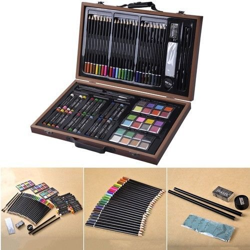 80-Piece Art Set Deluxe Drawing Painting Sketching w/ Wood Case & Accessories #1
