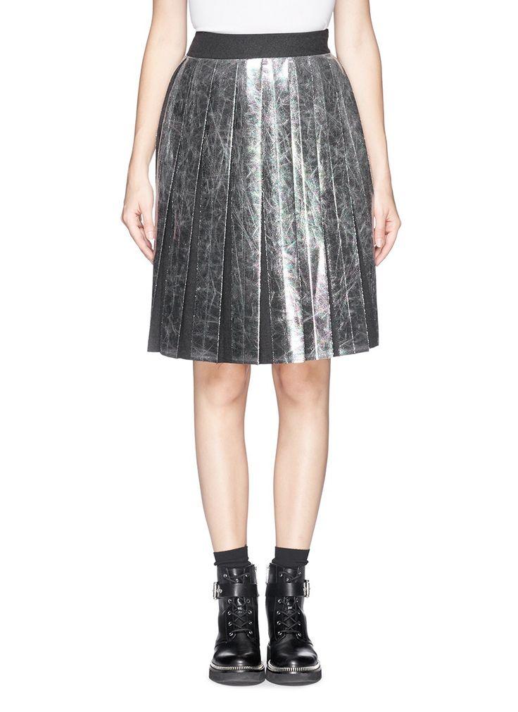 MSGM - Oilslick foil print pleat skirt | Metallic Knee-Length Skirts | Womenswear | Lane Crawford - Shop Designer Brands Online