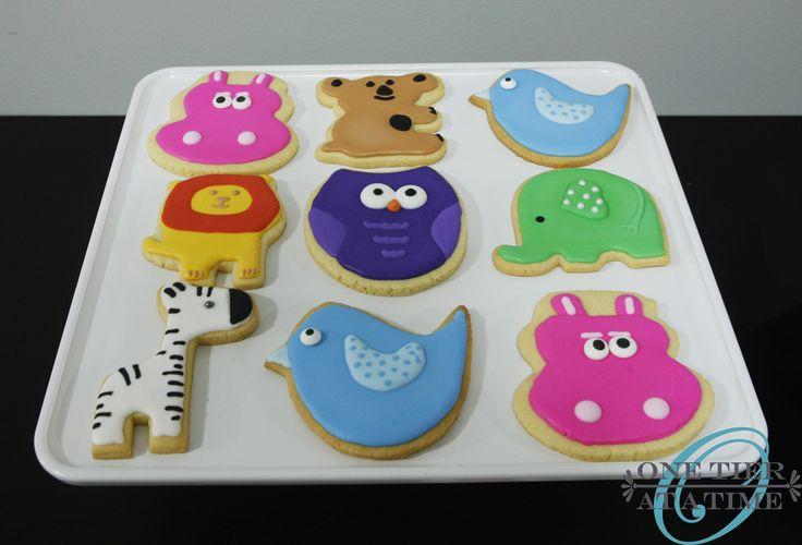 Animal baby shower sugar cookies - hippo, zebra, owl, lion, bird, koala bear, elephant