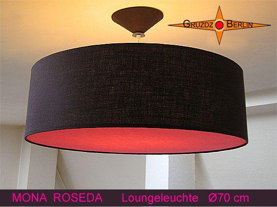 Loungeleuchte MONA ROSEDA, Ø 70 cm Pendelleuchte in Dunkelbraun mit passendem Baldachin und pinkfarbenem Diffusor. Schön, elegant und ein klein bisschen geheimisvoll wirkt diese außerordentliche Lampe in ihrer dunkelbraunen Farbe in Verbindung mit dem pinkfarbenem Diffusor.